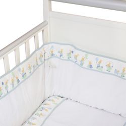 White Bedding Set with Blue Trim and Rabbit Design
