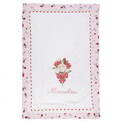 Pink Blanket with Floral Design