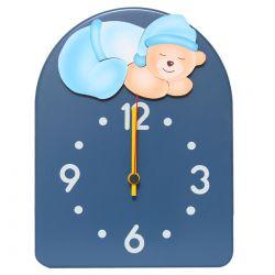 Navy Blue Clock with Sleeping Bear