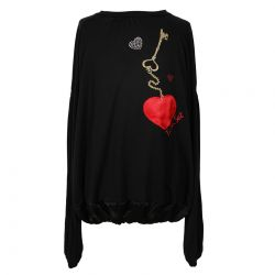 Black Blouse with Heart and Key Print