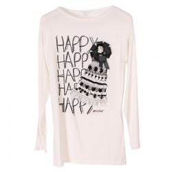 White T-Shirt with Happy Print