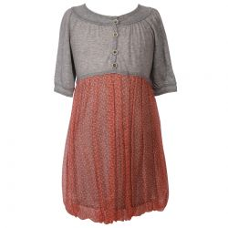 Grey Dress with Orange Skirt Design