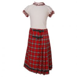 White Top and Red Checkered Skirt