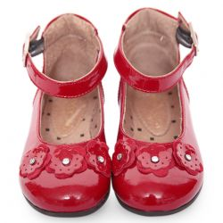 Red Shoes with Flower Attachment Design