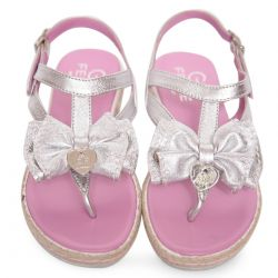 Silver Sandals with Bow and Heart Attachment