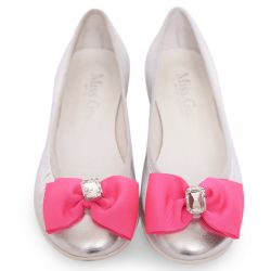 Silver Shoes with Pink Bow