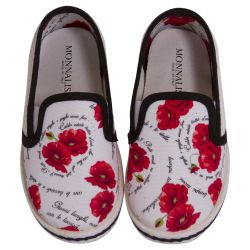 White Shoes with Black Lining and Red Floral Design