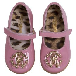 Pink Shoes with Metallic Gold Logo
