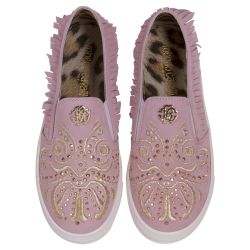Pink Casual Shoes with Gold Design