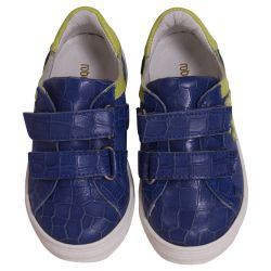 Blue Rubber Shoes with Yellow Lining and Strap