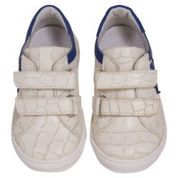 Beige Rubber Shoes with Blue Lining and Strap