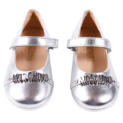 Silver Flat Shoes with Strap