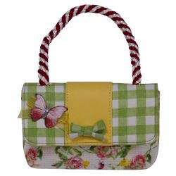 Green Quilted Handbag With Butterfly and Bow