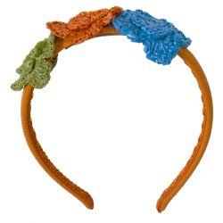 Orange Headband with Floral Crochet Design