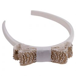 White Headband with Beige Bow