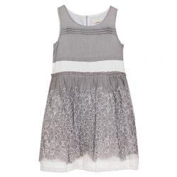 Grey Floral Sleeveless Dress