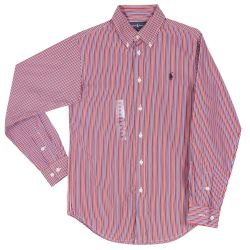 Red Striped Long Sleeve Polo