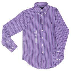 Purple Striped Long Sleeves Polo