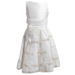 White Bolero and Dress with Gold Lining and Floral Design
