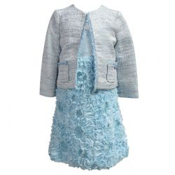 Blue Jacket and Dress with 3D Floral Design