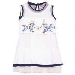White Sleeveless Dress with Fish Print Design