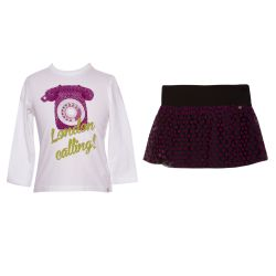 Microbe 2pc Set Skirt - White