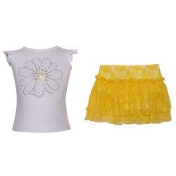 Monnalisa 2pc Set Skirt - White