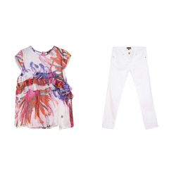 Multicolored Floral Shirt & White Trousers