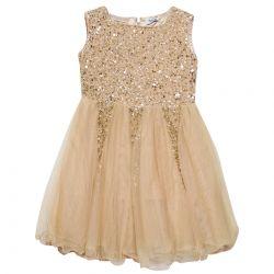 Beige Sequins Sleeveless Dress