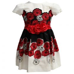 White Dress with Embroidered Flower Design