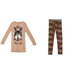 Brown Long Sleeve Dress & Leggings