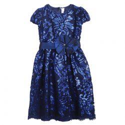 Blue Shiny Floral Dress Design