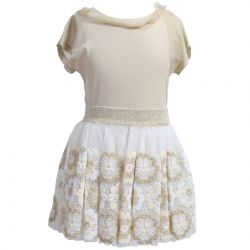 Beige Top with Skirt with Floral Design
