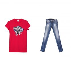 Red Floral Shirt & Blue Jeans