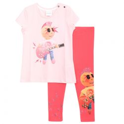 Pink T-Shirt and Leggings with Punk Rocker
