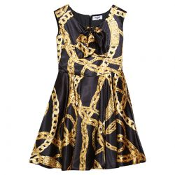 Black Sleeveless Gold Chain Dress