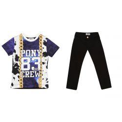 "Blue ""Pony 83 Crew"" Shirt & Pants"