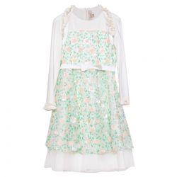Green Sleeveless Floral Dress