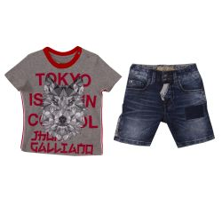 John Galliano T-Shirt With Shorts - Grey