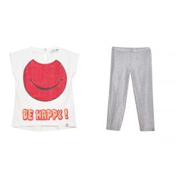 "White ""Be Happy"" T-Shirt & Leggings"