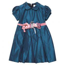 Blue Puffed Sleeves Dress