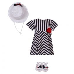 Aletta Set of Dress, Hat & Shoes - White