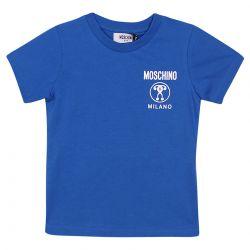 Blue T-Shirt with Moschino Milano Logo