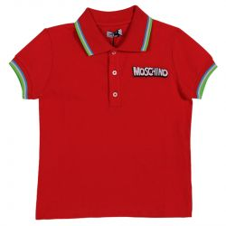 Red Polo Shirt with Moschino Logo