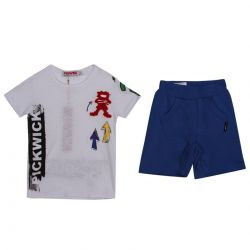 White T-Shirt with Blue Shorts