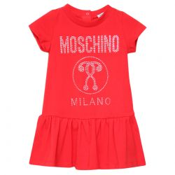 Red Dress with Moschino Milano Print