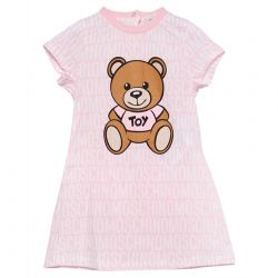 Pink Short-sleeve Dress with Teddy Bear Print