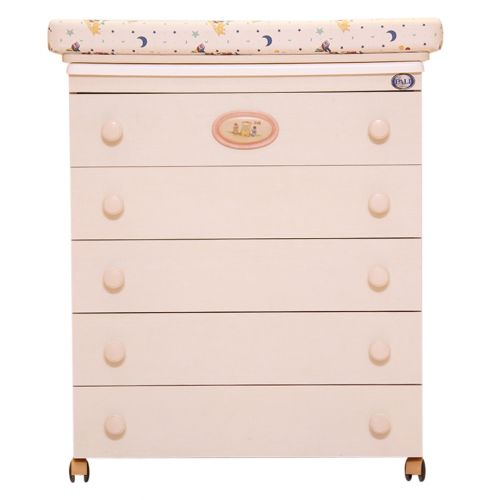 Bath Chest Ivory with 5 Drawers and Wheels