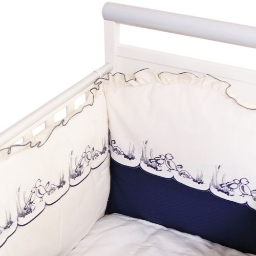 White Set Cover with Navy Blue Bird Design