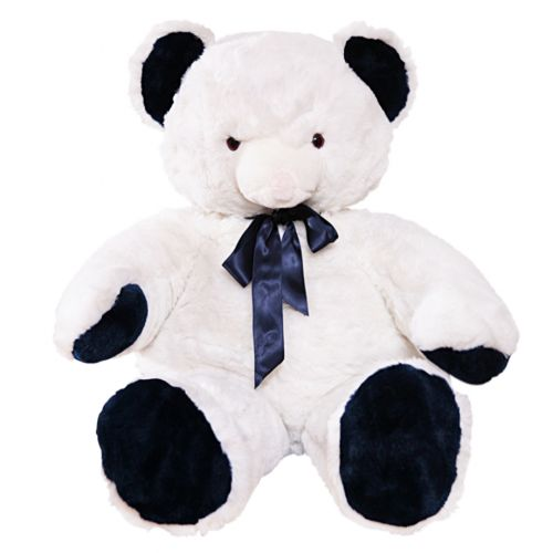 White Teddy Bear Stuffed Toy with Ribbon Lace